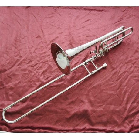 Professional Silver Bass Trombone Double Rotor Horn Bb/F/Eb&Bb/F/D/Gb Key W/Case