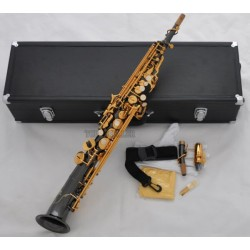 Black Nickel Soprano Saxophone Bb Saxello sax Curved Bell High F#, G with Leather Case