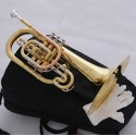 Professional Gold Marching Mellophone F Key Monel Valves With Case