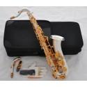 Professional SATIN SILVER C Melody Saxophone sax High F# ABALONE Keys, 2 Necks