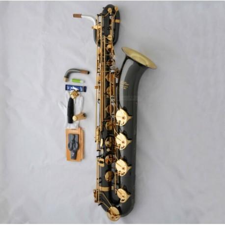 Newest Superbrass Baritone Saxophone Black nickel Bari Sax Gold BELL Low A Key+Case