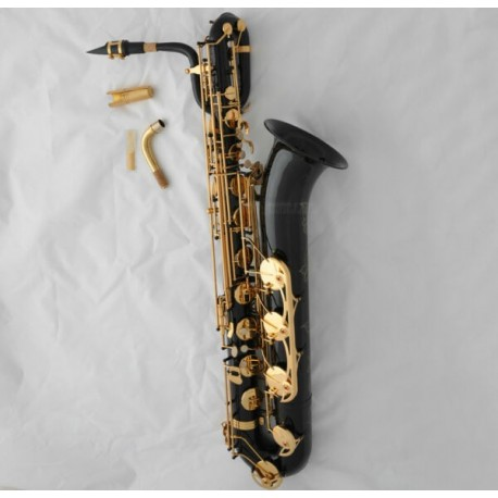 Professional Black Eb Baritone saxophone Low A High F# Sax + 2 Necks + Canvas Case
