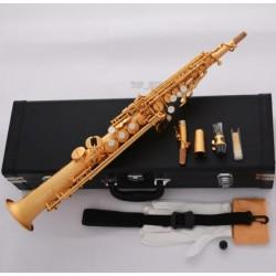 Professional Satin Gold Soprano Saxophone Straight Bb Luxury Sax High F#