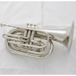 Professional Bb Marching Baritone Silver Nickel Horn with Case