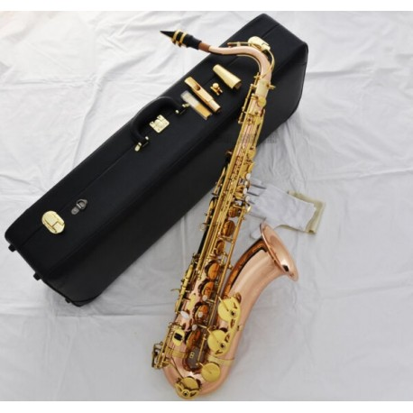 Pro Rose Brass New Bb Tenor Saxophone High F# Sax Metal Mouthpiece Leather Case