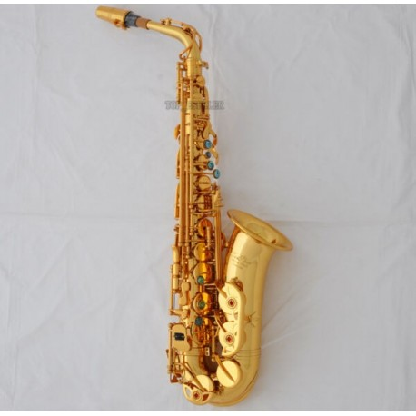Professional Superbrass GOLD Alto Saxophone sax With ABALONE Keys High F# +Case