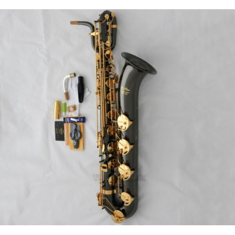 Professional Black Nickel Superbrass Baritone Saxophone Eb Sax Low A High F# 2 Neck