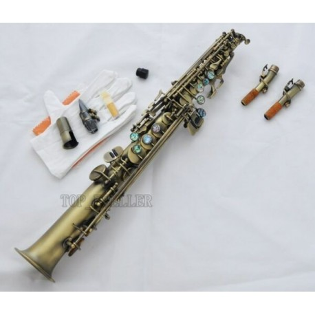 Antique Straight Soprano Saxophone Bb Sax Ablone Shell High F#, G 2 Necks NEW