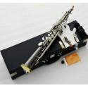 Black Silver Nickel Pro. Straight Soprano saxophone Bb Sax Gold Bell Hard Case