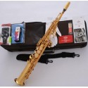 Professional Superbrass Built-in Neck Bb Soprano Saxophone Straight Gold Sax F# Key
