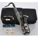 Professional Black Nickel Silver C Melody Saxophone sax High F# 2 Neck With Case