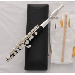 Top Silver Plated C Key Piccolo Flute Black Bakelite Body Italian pad With Case