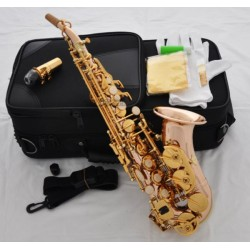 Professional Rose Brass Material Bb Curved Soprano Saxophone Sax with Case