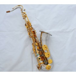 Professional Silver Gold Tenor Saxophone Sax Abalone shell Key High F# With Case