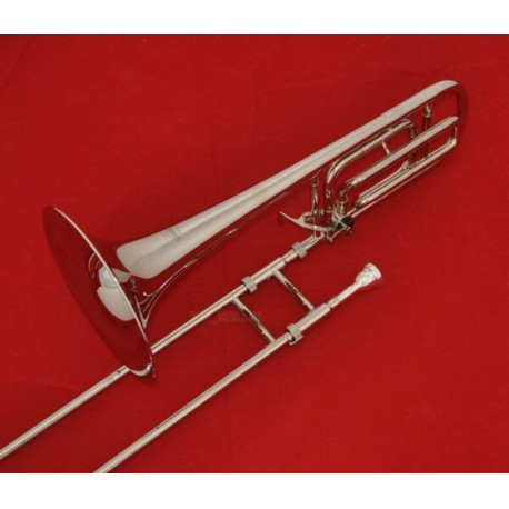New Silver Nickel Plated Tenor Trombone Bb/F Trigger Horn With Case