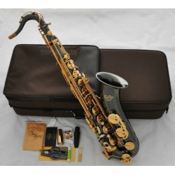 Professional Black Nickel Gold Superbrass Tenor Saxophone Bb Sax High F# With Case
