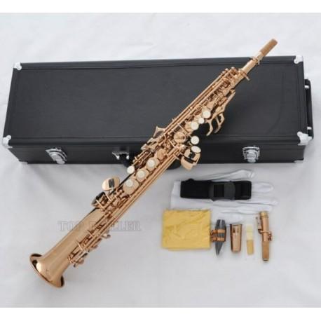 Professional Rose Gold Plated Straight Soprano Sax Saxophone High F# G Key