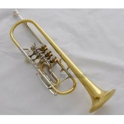 Professional Gold Rotary Valve Trumpet horn B-Flat Cupronickel Leadpipe Case