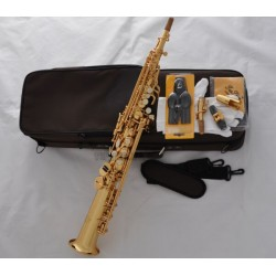 Professional Superbrass Gold Bb Soprano Sax Straight Saxophone High F# 2 Necks