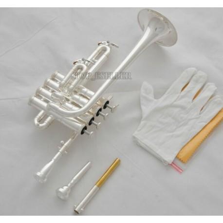 Professional Silver Piccolo Trumpet 4 Piston Horn Bb/A 2 Leadpipe Mouthpiece