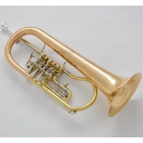 Professional Rotary Valve Flugelhorn Gold Brass BB Horn Engraving Bell With case