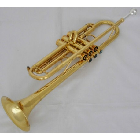 Professional Gold Jazz Trumpet Abalone Keys Bb Horn Reverse Leadpipe With Case