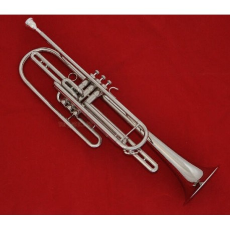 Professional Nickel Silver Plated Bass Trumpet Bb Key Horn With Case Mouth