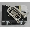 Professional Superbrass Silver Nickel Rotary Valve Cornet Trumpet Horn Leather Case