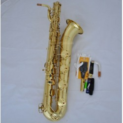 Professional Superbrass Gold Lacquer Baritone Saxophone Eb Sax Low A 2 necks Abalone
