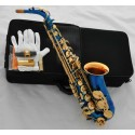 Latest Blue Lacquer Gold Bell Alto saxophone Eb Keys Sax Hand engraved bell