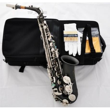 Professional Satin Black Nickel Silver Alto Saxophone High F# sax Abalone Key +10Pc Reed