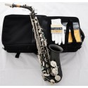 Professional Satin Black Nickel Silver Alto Saxophone High F# sax Abalone Key +10Pc Reed
