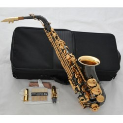 Professional Black Nickel Alto Saxophone Gold Bell Eb Sax Abalone + Matel Mouth
