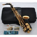 Superbrass Pro Series Black Gold Bell Alto Saxophone Eb Sax High F# With 10pc Reed Case
