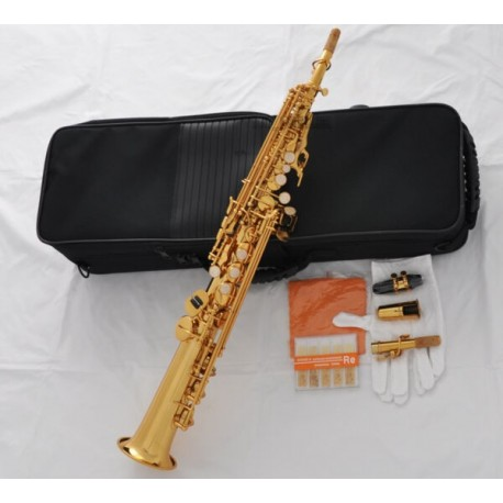 Top Gold Straight Soprano Saxophone Sax Bb High F# G key 2 Necks With Case Reeds