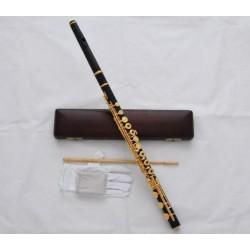 Classic Ebony Wood C Tone Flute Gold Plated 17 Key Hole B Foot W/Wood Case