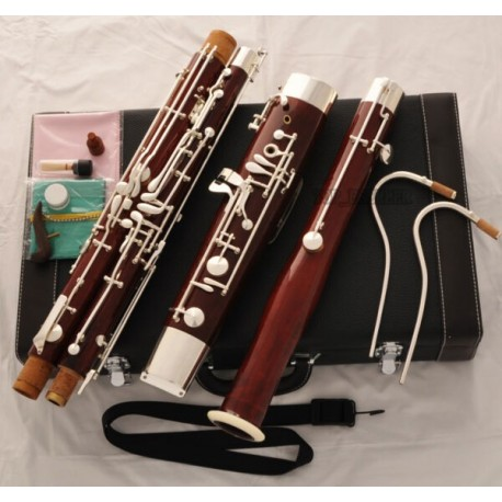 Professional Maple Wooden Bassoon Silver Plated Key 2 Bocals Brand With Case