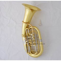 Professional Gold Lacquer Euphonium 4 Rotary Valve Bb Horn With Case Mouthpiece