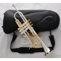 Professional Silver Gold Plated Trumpet B-Flat horn With Monel valves Hard Case
