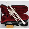 Professional Reverse Leadpipe Trumpet Horn Silver Plated with Hard Case