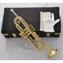 Professional Matt Brush Brass Trumpet 3 Monel Piston B-Flat Horn With Case