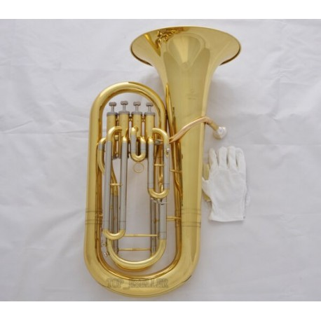 Professional Superbrass Gold Bb Euphonium Horn 4 Valves Cupronickel Side With Case