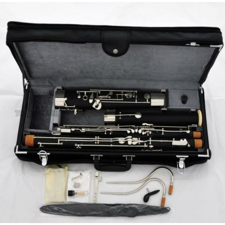Professional Black Full size Bassoon C Tone Silver Key 2 c cupronickel Bocal