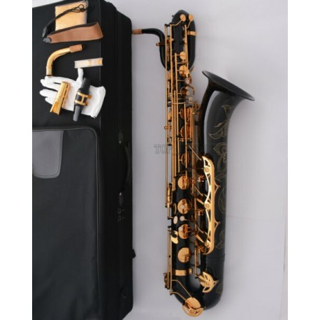 Professional Black baritone saxophone High-grade Engraving bell + 2 Neck + Case