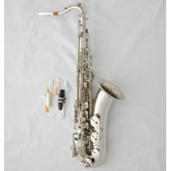 Professional Silver Nickel Tenor Saxophone Sax High F Free Metal Mouthpiece Case