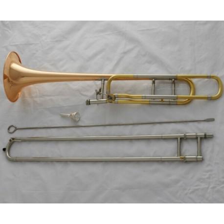 Professional Rose Brass Bell Tenor Trombone Bb/F Keys Horn With Case Mouthpiece