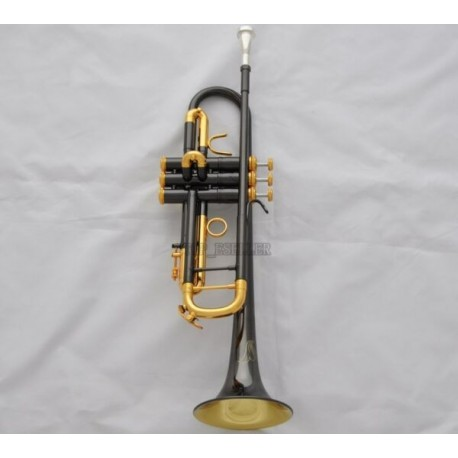 Professional Black Nickel Gold bell Trumpet Horn Turquoise Key Monel W/Case