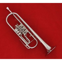 Professional Rotary Valve Trumpet Silver nickel horn With Case Mouthpiece
