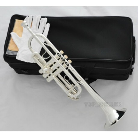 Professional Brand Silver Plated C Key Trumpet Horn With Case Mouthpiece