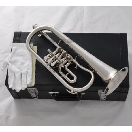 High Grade Silver Nickel 3 Rotary Valves Flugelhorn Bb Keys Horn New case
